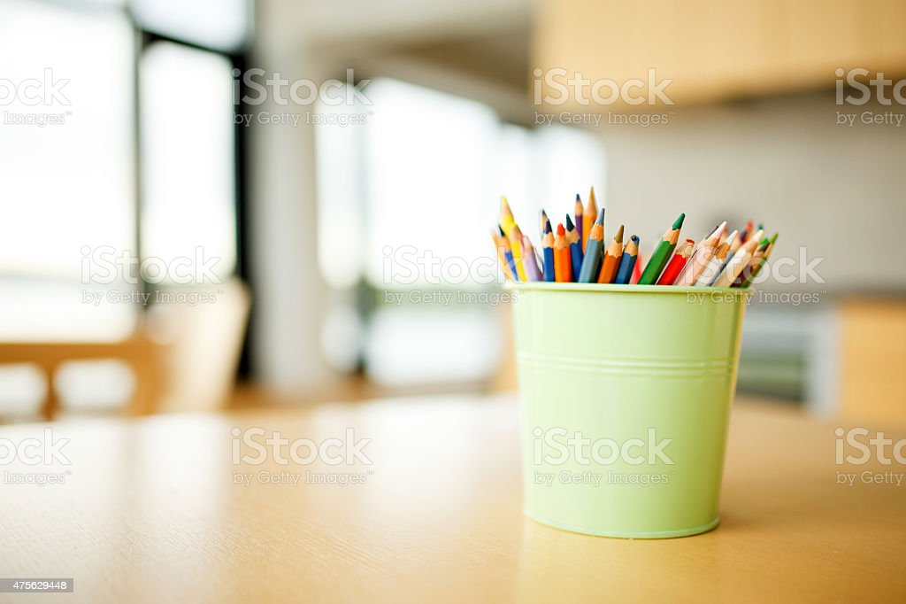 Color pencils on the table stock photo