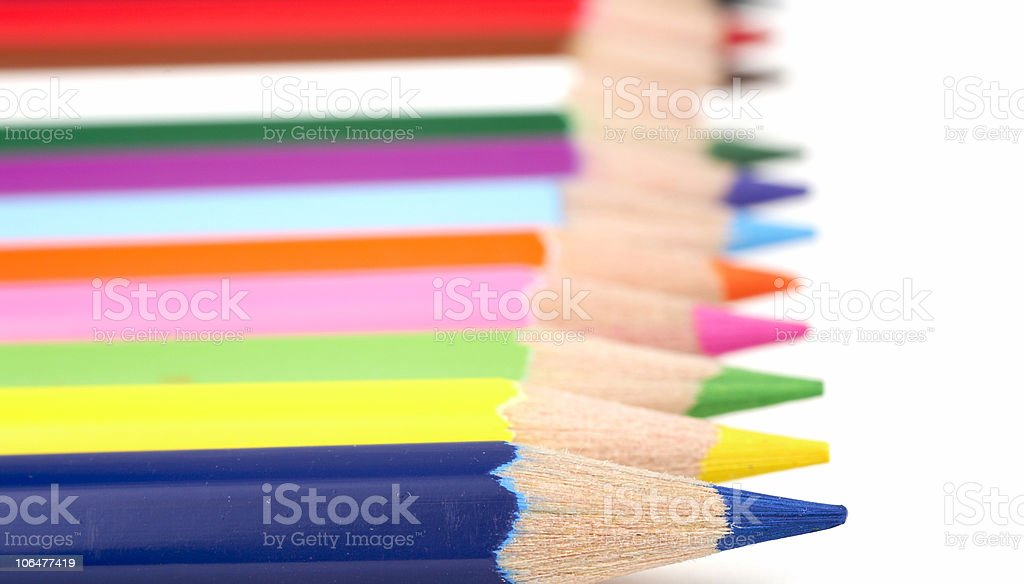 Color pencils ordered in a row royalty-free stock photo