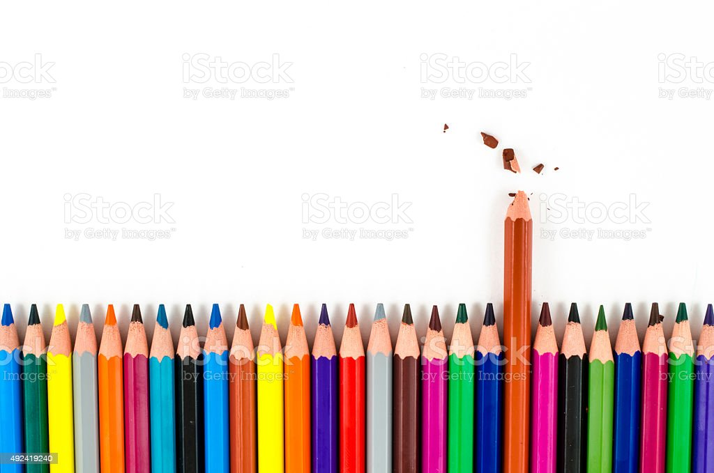 Color pencils with one broken isolated on white stock photo