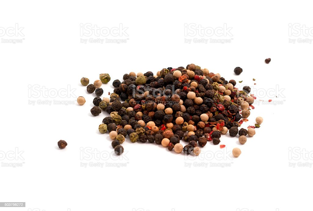 Color pepper mix, on white background stock photo