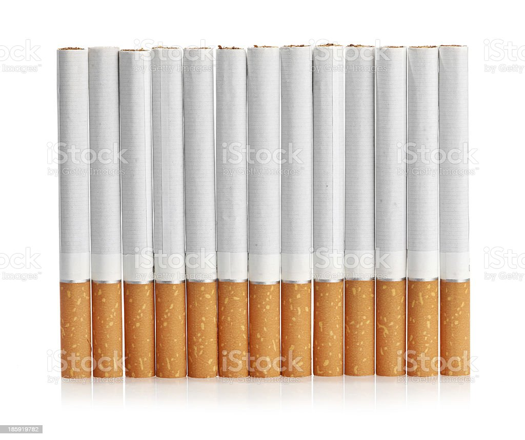 Color photo of filter cigarettes isolated background royalty-free stock photo