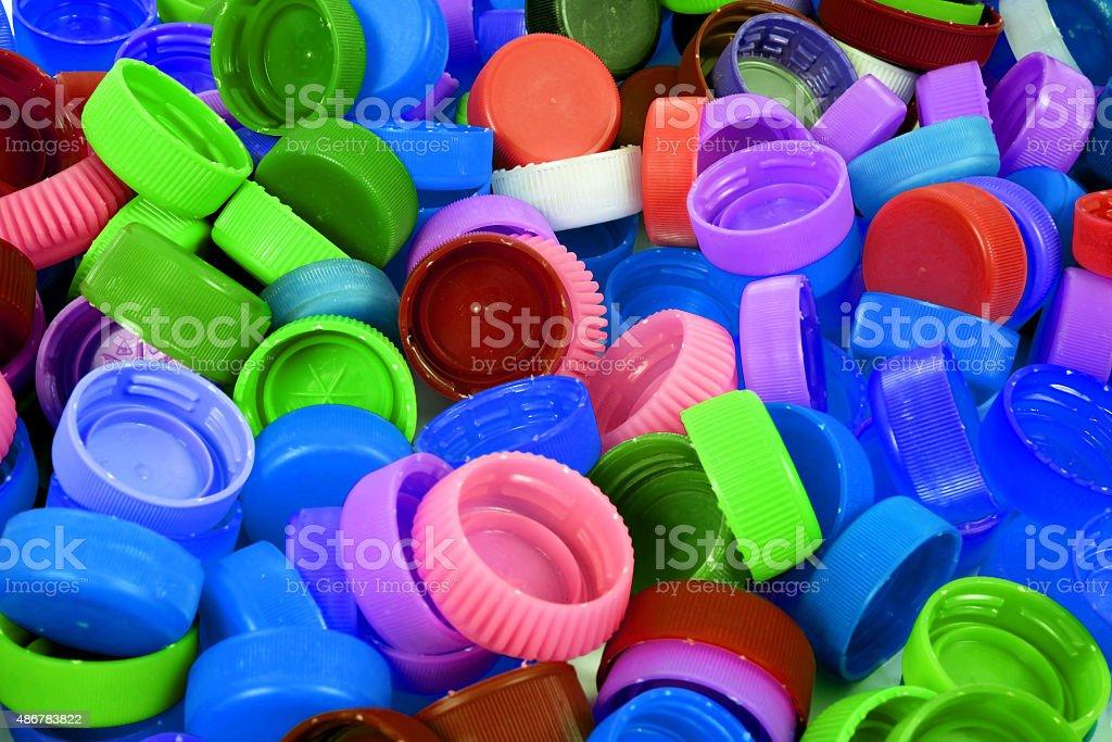 Color plastic caps background stock photo