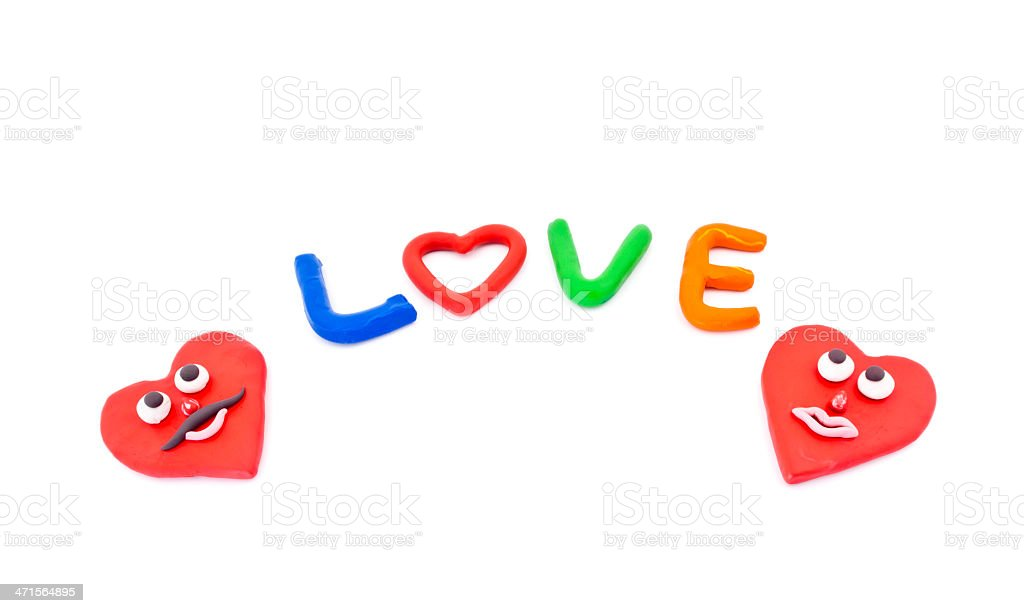 Color plasticine letter wiht word of love royalty-free stock photo
