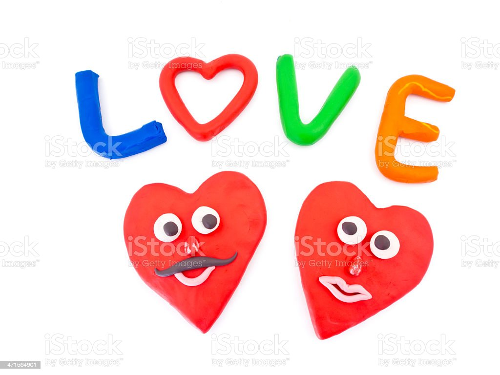 Color plasticine letter with word of love royalty-free stock photo