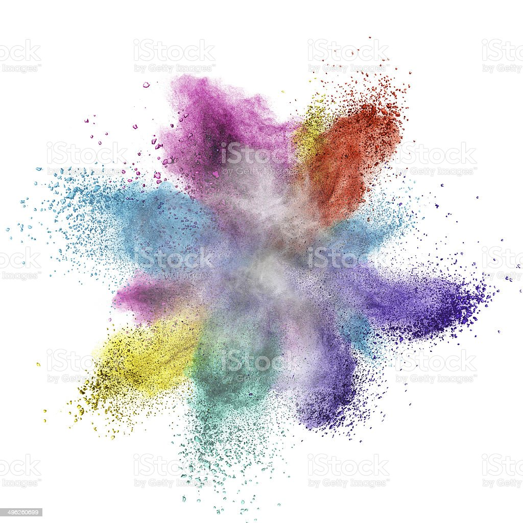 Color powder explosion isolated on white stock photo