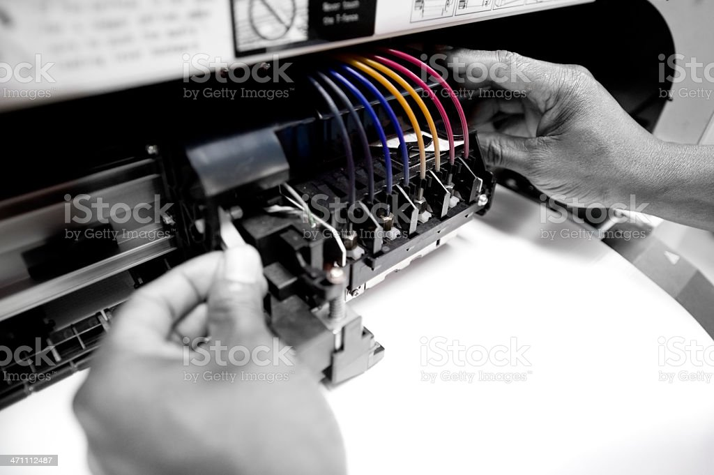 Color Printer Repairman stock photo