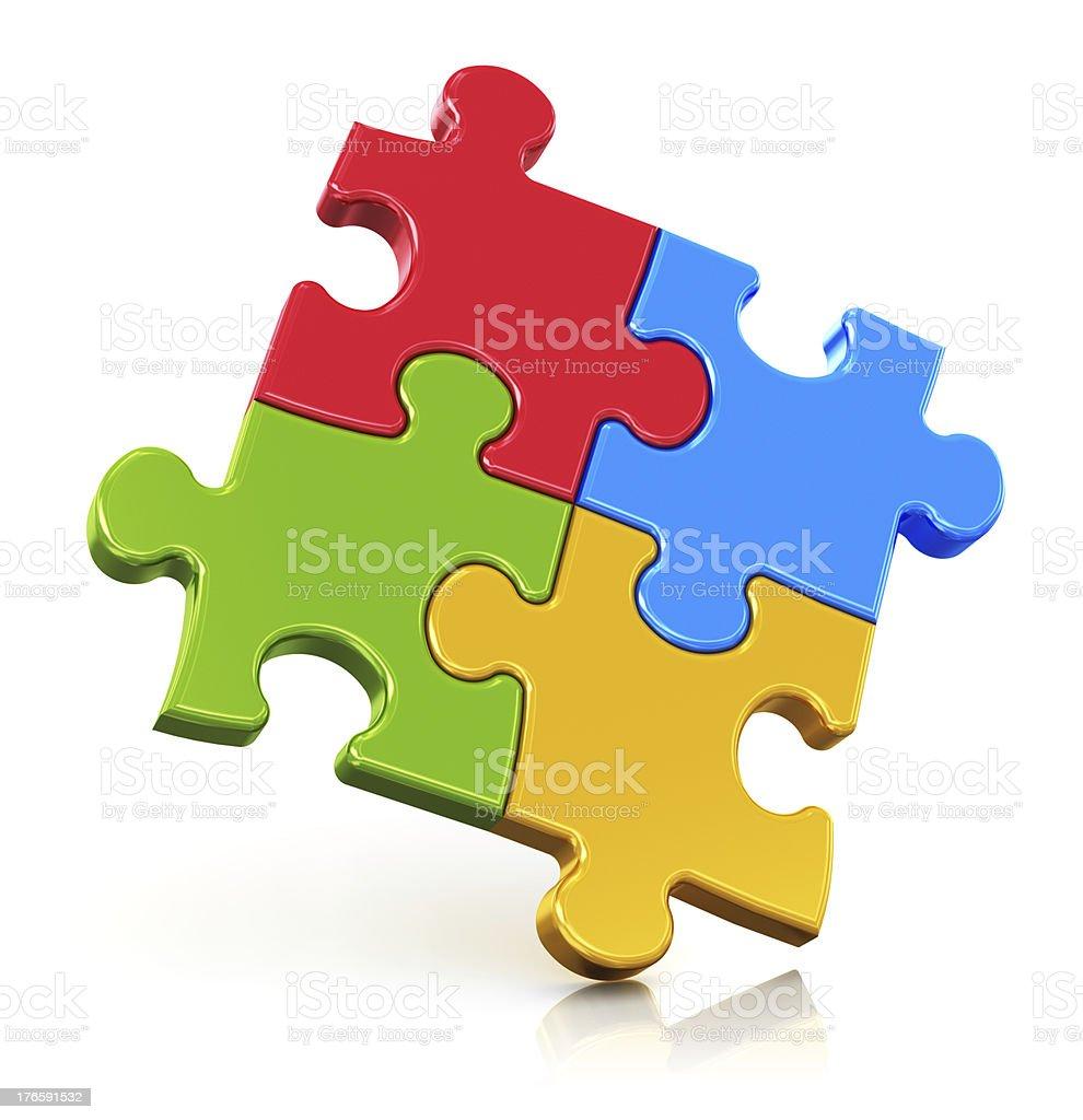 Color puzzle pieces stock photo