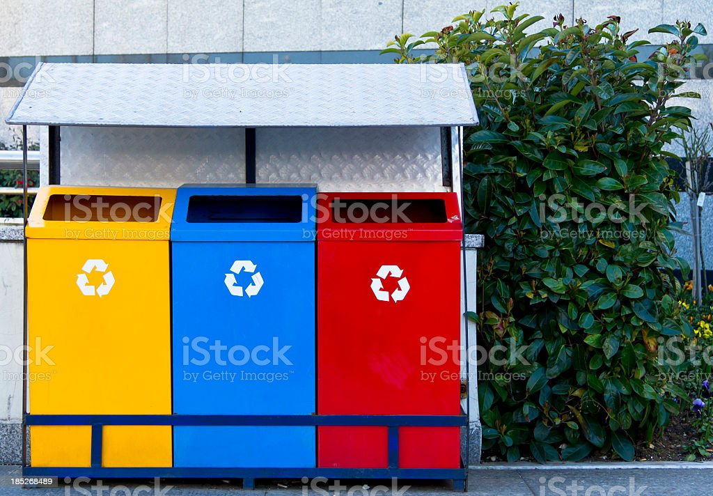 Color Recycle Bin royalty-free stock photo
