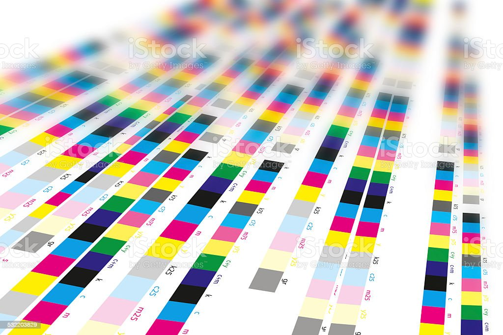 Color reference bars of printing process in printshop stock photo