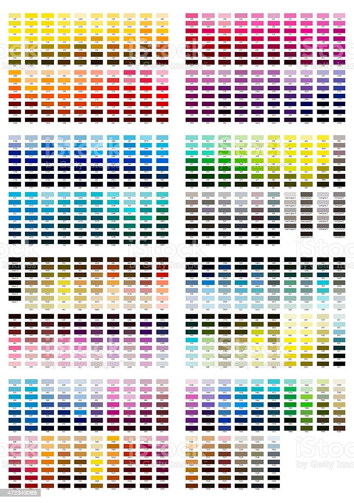 Color reference illustration. All shades from 100 to 7547 vector art illustration