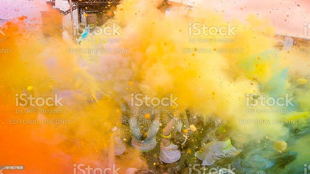 Color run in Montreal, Canada stock photo