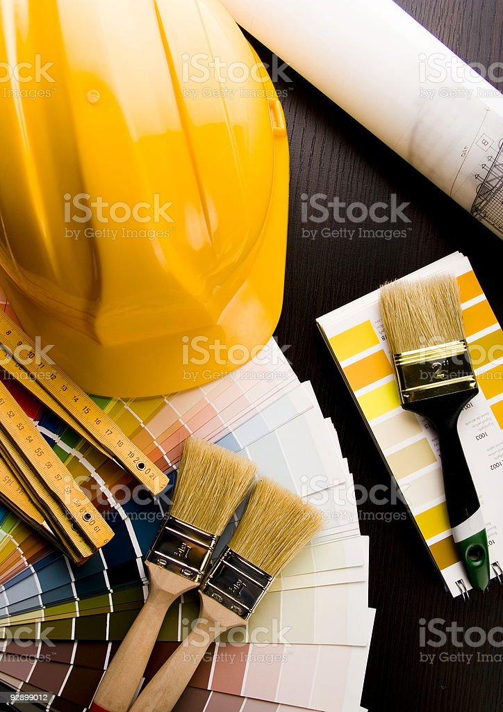 Color samples & Architecture plan royalty-free stock photo