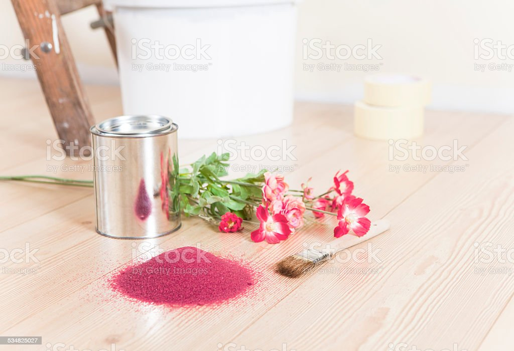 Color selection to paint with flowers stock photo