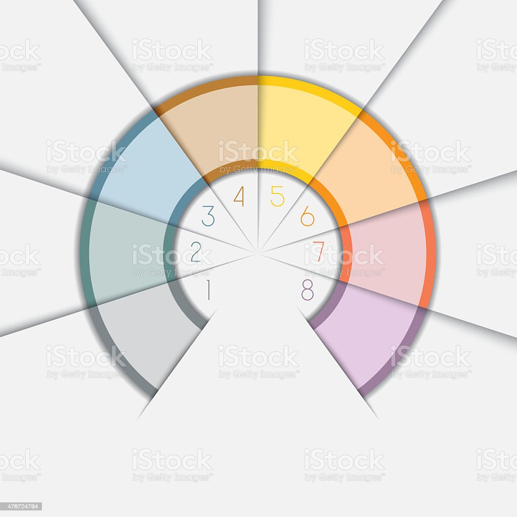 Color Semicircle for infographic text areas on 8 positions stock photo