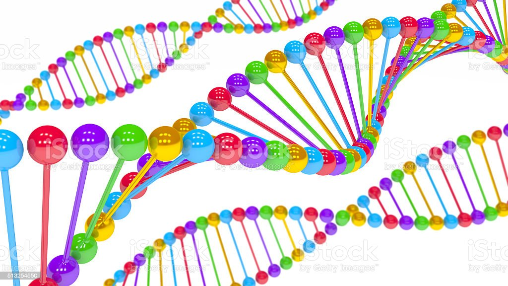 3D DNA Color Sequence close up stock photo