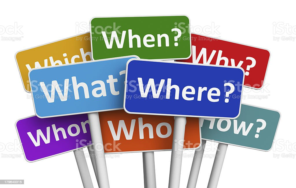 Color signs with questions royalty-free stock photo