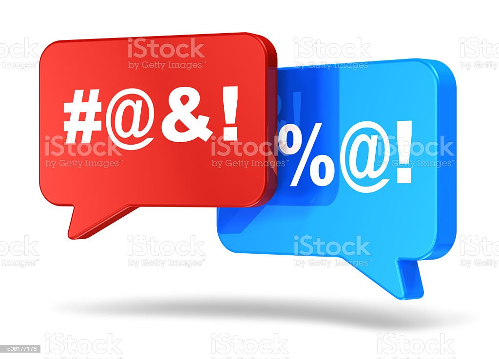 Color speech bubbles with censored swearing words stock photo