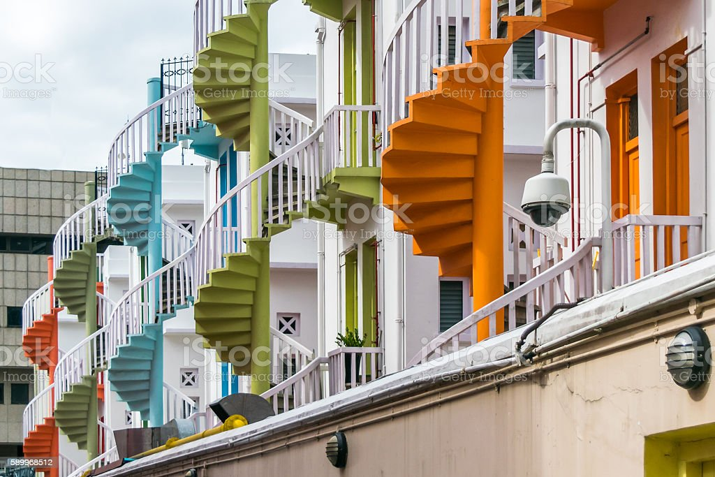 Color spiral staircase on Bugis street, Singapore stock photo