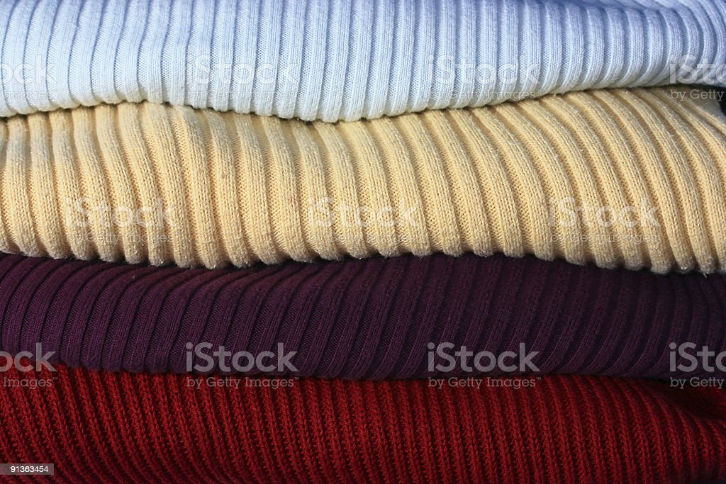 Color striped Sweaters Stacked background stock photo