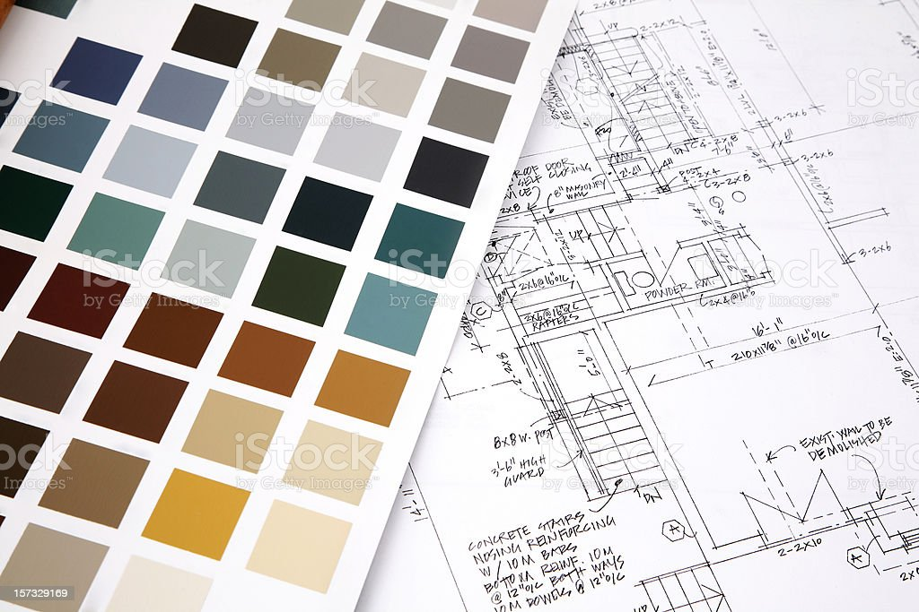 Color swatch and building plans stock photo