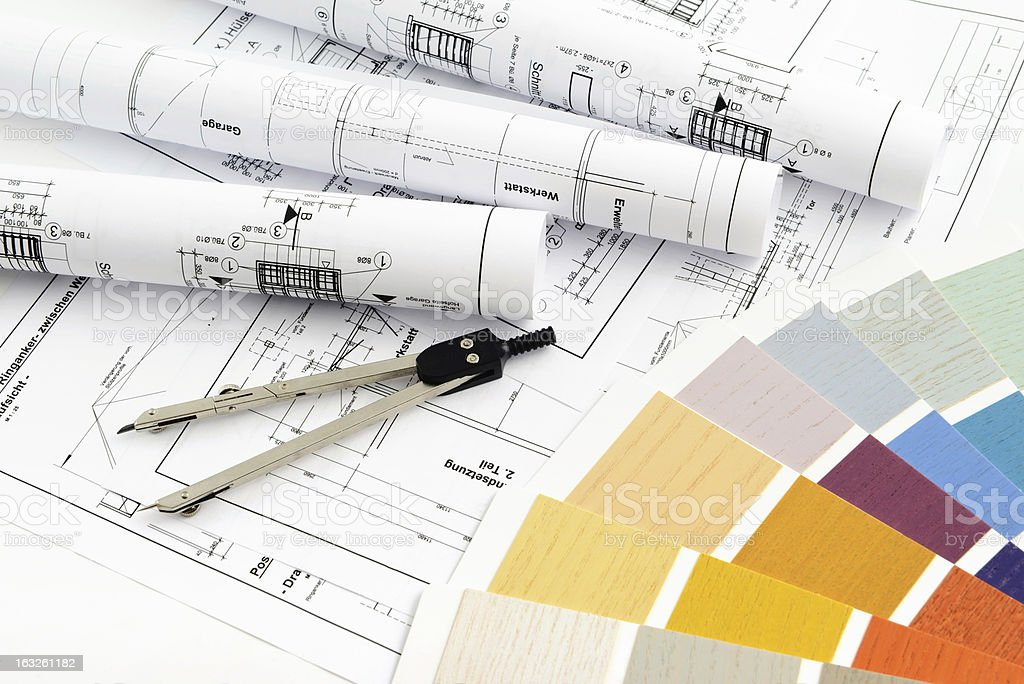 Color Swatch for home improvement blueprints and compass stock photo