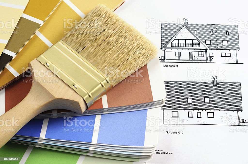 Color Swatch for home improvement blueprints and paintbrush royalty-free stock photo