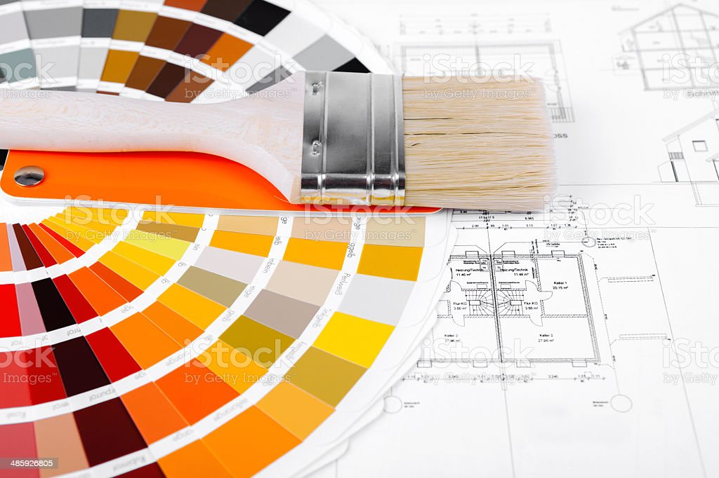 Color Swatch for home improvement with blueprints of house plan and...
