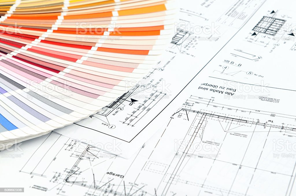 Color Swatch for home improvement blueprints stock photo