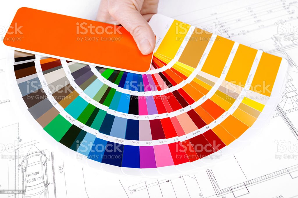 Color Swatch for home improvement with blueprint stock photo