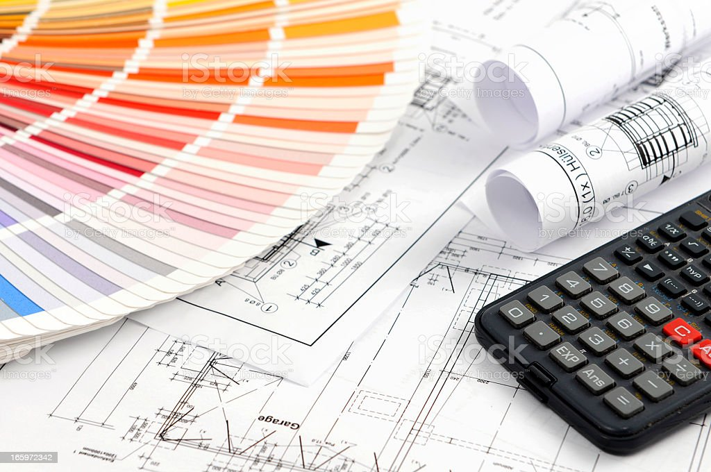 Color Swatch for home improvement with blueprints plan and calculator stock photo