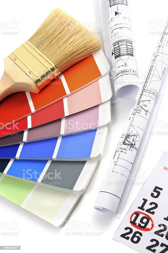 Color Swatch for home improvement with blueprints plan and deadline stock photo