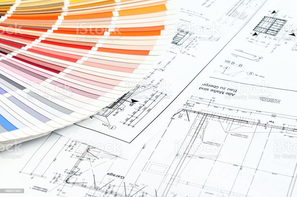 Color Swatch for home improvement with blueprints plan stock photo