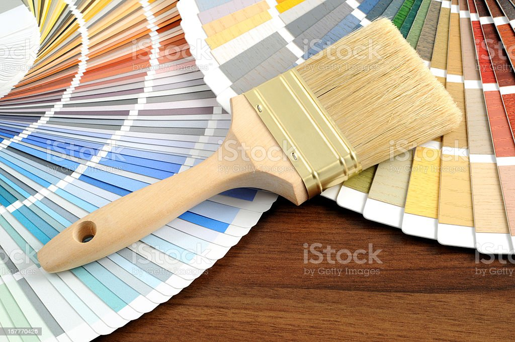 Color Swatch for home improvement with paintbrush stock photo