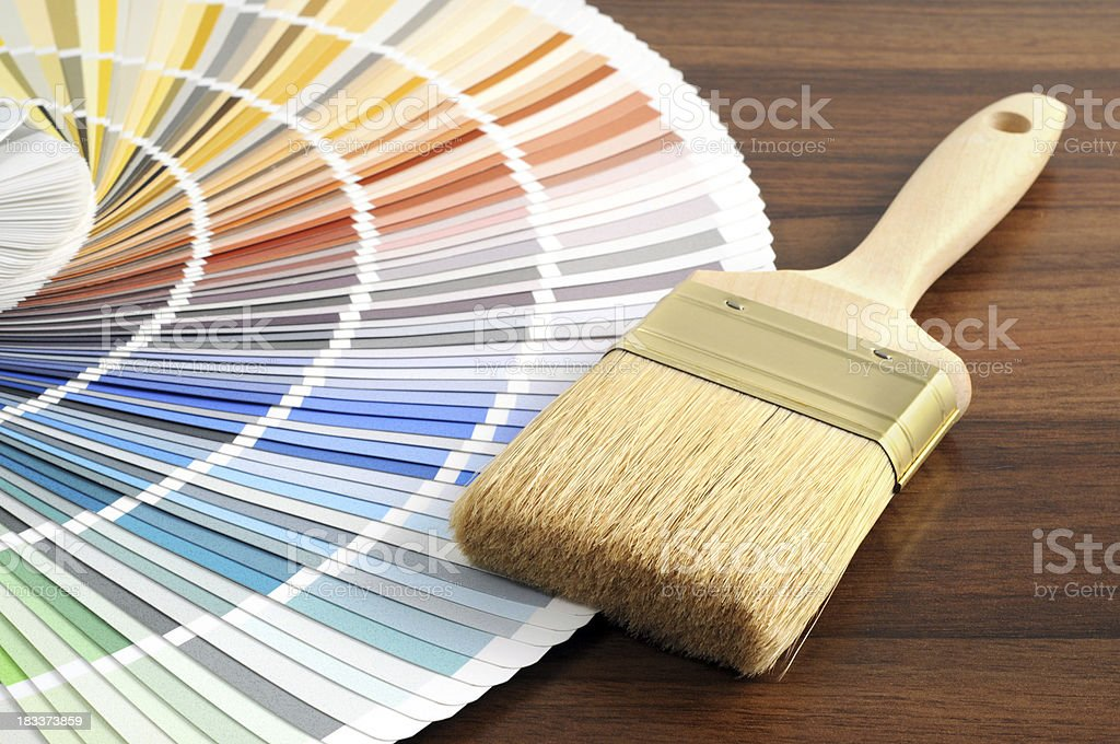 Color Swatch for home improvement with paintbrush royalty-free stock photo