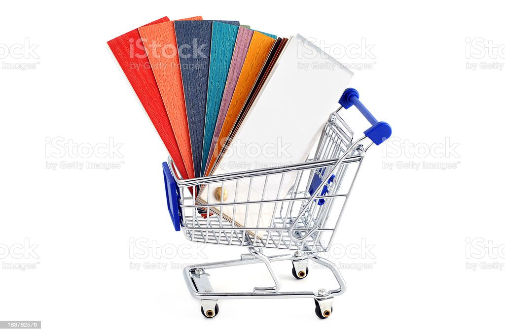 Color Swatch for home improvement with shopping cart stock photo