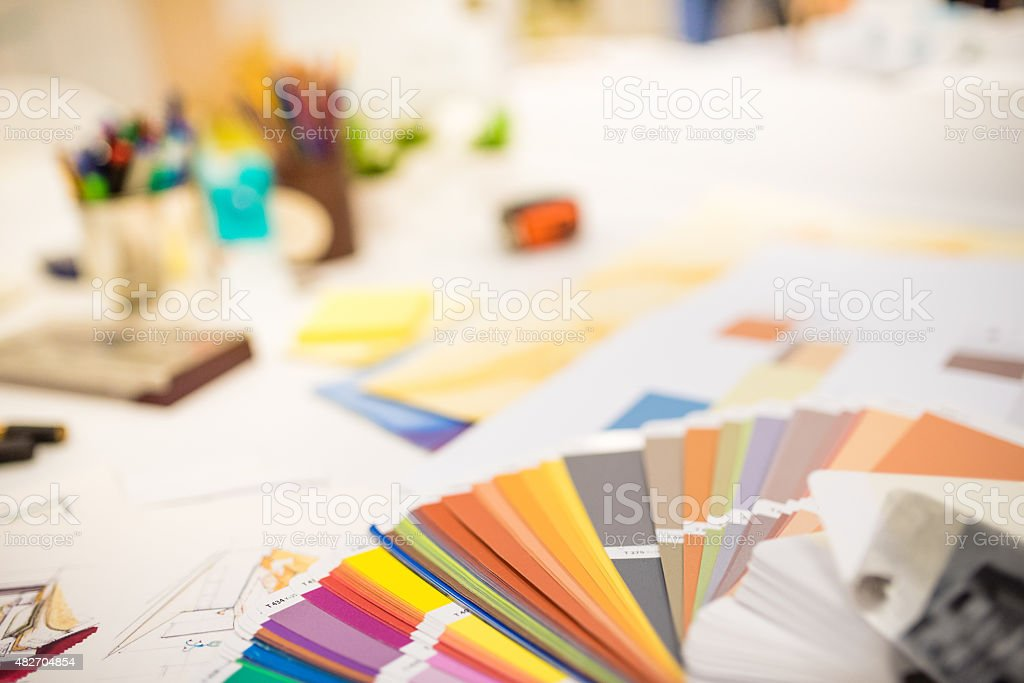 Color swatch on designers desk stock photo
