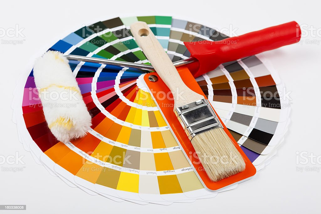 Color Swatch with paintbrush  and painter roller stock photo