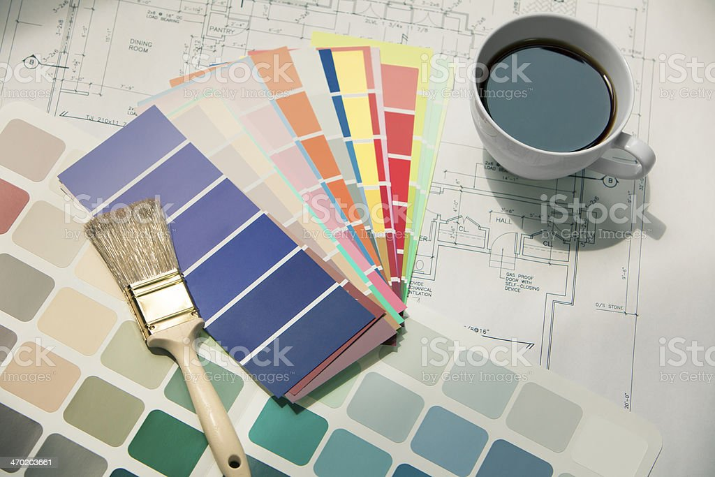 Color swatches and a paintbrush royalty-free stock photo