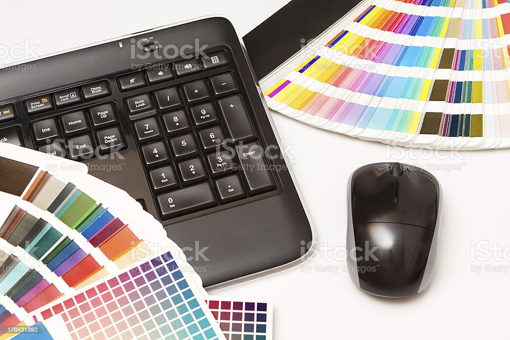 color swatches and computer keyboard, mouse royalty-free stock photo