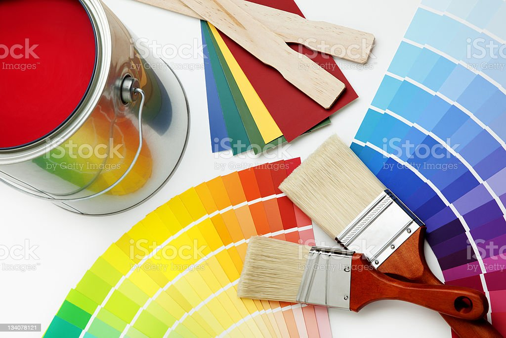 Color Swatches and Paint Brushes on White stock photo