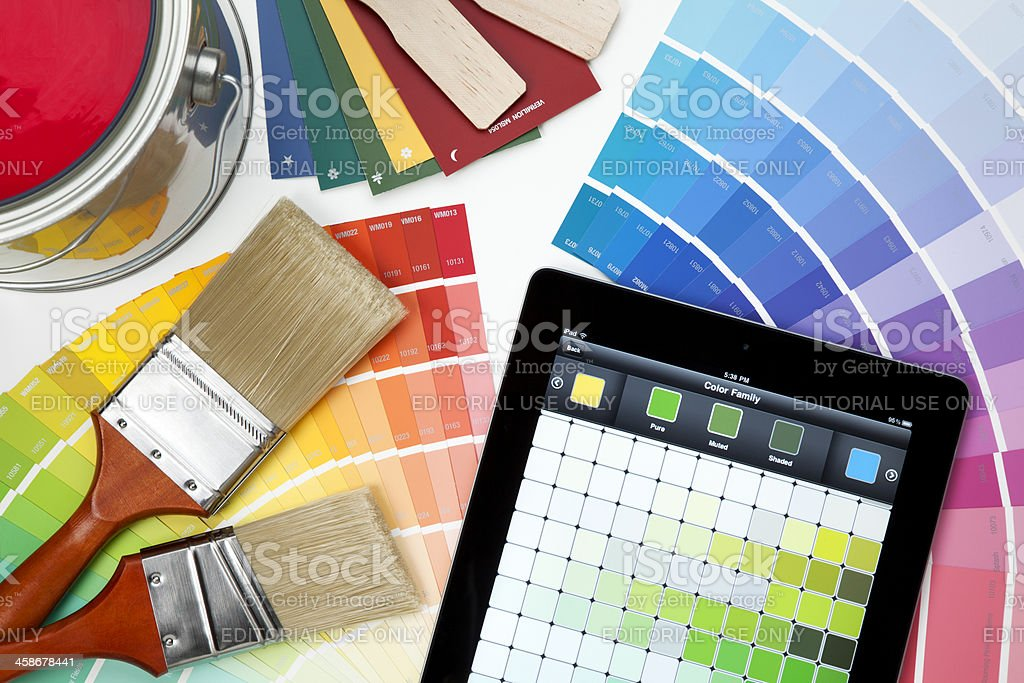 Color Swatches and Paint Brushes on White royalty-free stock photo