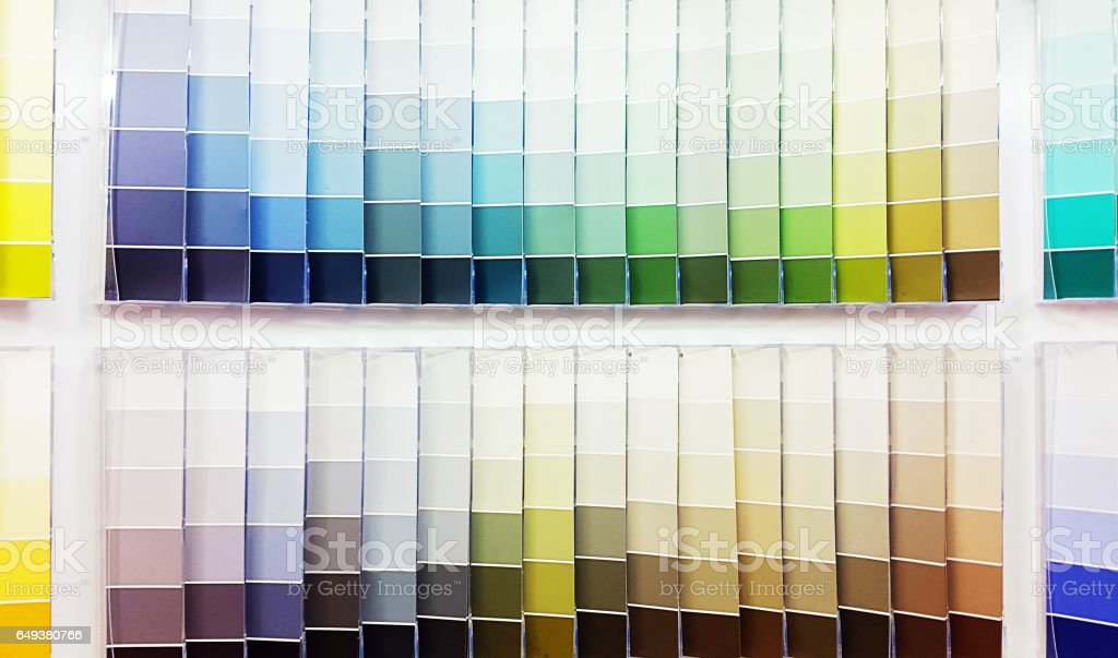 Color swatches in a paint store stock photo