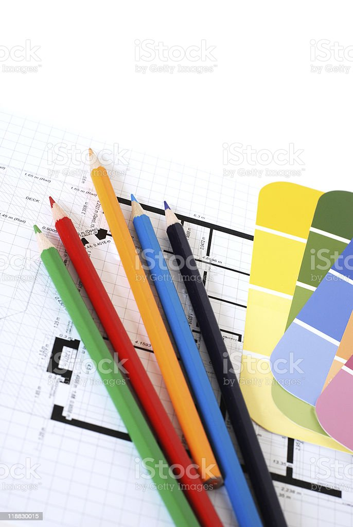 Color swatches, pencils and plans royalty-free stock photo