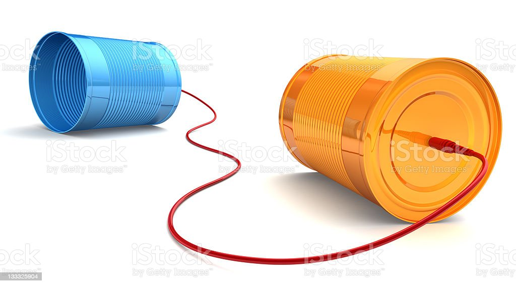 Color Tin Can Phone. royalty-free stock photo