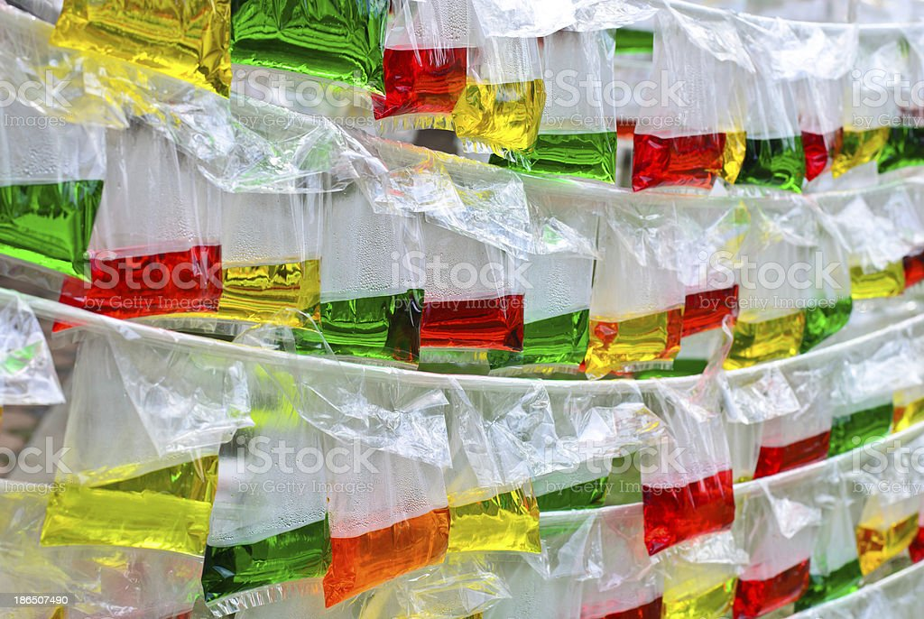 Color water in the translucent plastic bag royalty-free stock photo