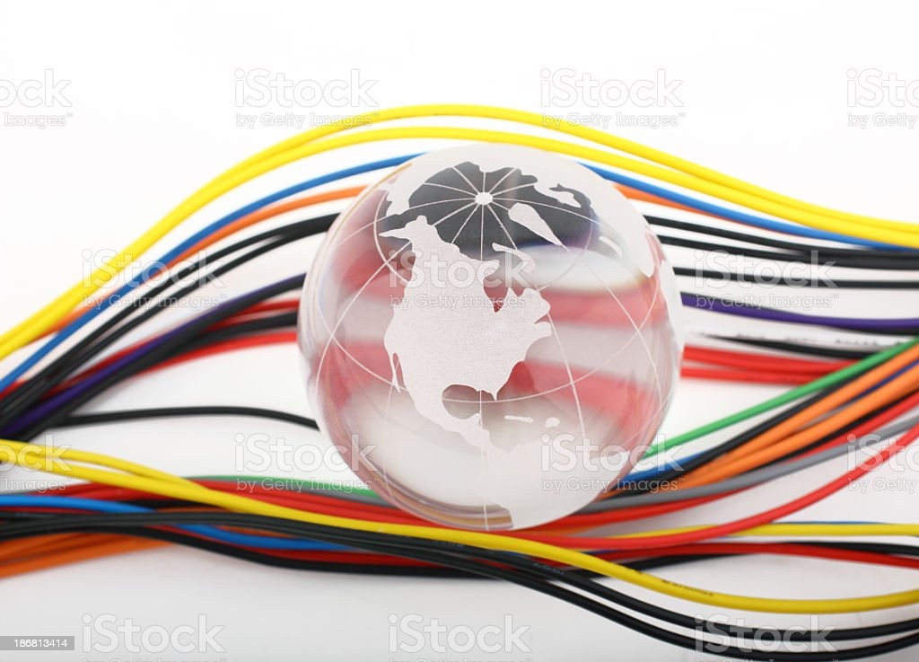 Color wires and glass globe stock photo