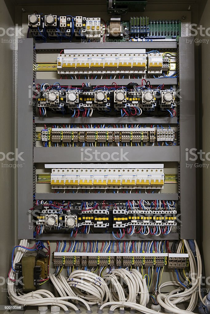 Color wires in a box stock photo