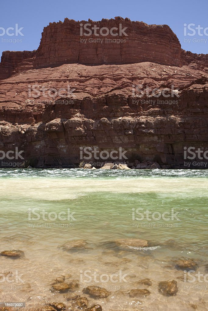 Colorado and Paria Rivers meet Lees Ferry Glen Canyon Arizona stock photo