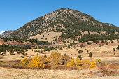 Colorado autumn colors Jewel Mtn passenger train Rocky Mountains