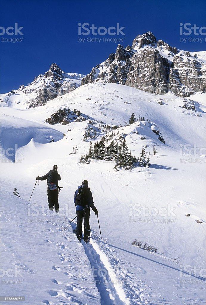 Colorado backcountry skiing pair Elk Mountain winter royalty-free stock photo